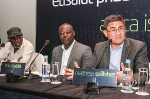 L-R: Patron, Etisalat Prize for Literature, Kole Omotoso; Chair of Judges, 2016 Etisalat Prize for Literature, Helon Habila, and Chief Executive Officer, Etisalat Nigeria, Matthew Willsher, at a Press Conference to announce the Call for Entry for the 2016 Etisalat Prize for Literature at the Wheatbaker Hotel, Ikoyi, Lagos on Wednesday June 1.