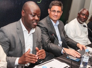 L-R: Chair of Judges, 2016 Etisalat Prize for Literature, Helon Habila; Chief Executive Officer, Etisalat Nigeria, Matthew Willsher, and Patron, Etisalat Prize for Literature, Dele Olojede at a Press Conference to announce the Call for Entry for the 2016 Etisalat Prize for Literature at the Wheatbaker Hotel, Ikoyi, Lagos on Wednesday June 1.