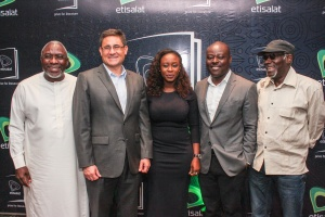 L-R: Patron, Etisalat Prize for Literature, Dele Olojede; Chief Executive Officer, Etisalat Nigeria, Matthew Will sher; Manager, High Value Sponsorship and Events, Etisalat Nigeria, Opeyemi Lawal; Chair of Judges, 2016 Etisalat Prize for Literature, Helon Habila, and Patron, Etisalat Prize for Literature, Kole Omotoso at a Press Conference to announce the Call for Entry for the 2016 Etisalat Prize for Literature at the Wheatbaker Hotel, Ikoyi, Lagos on Wednesday June 1.